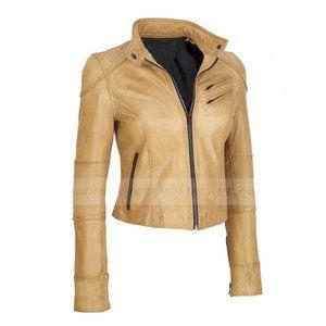 Black Rivet Tan Leather Scuba Jacket Chest Pockets